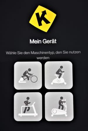 Kinomap App nutzen - Fitnessgerät auswählen