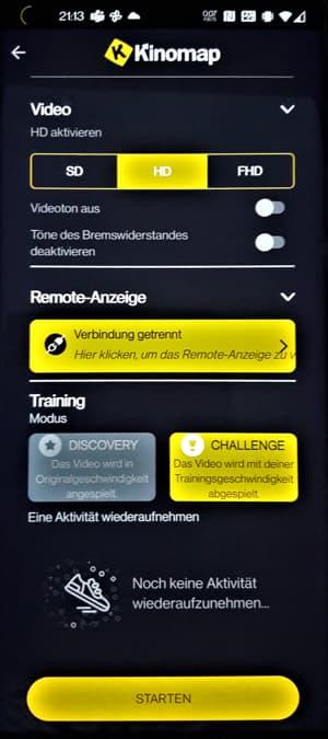 Kinomap App Video Einstellungen Challenge Discovery