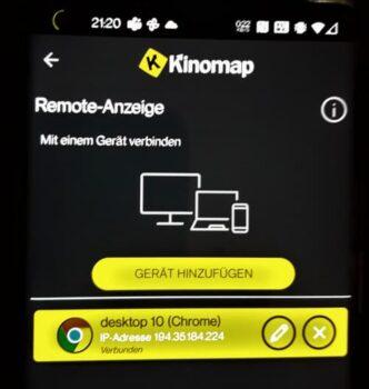 Kinomap Remote Verknuepfung mit Laptop